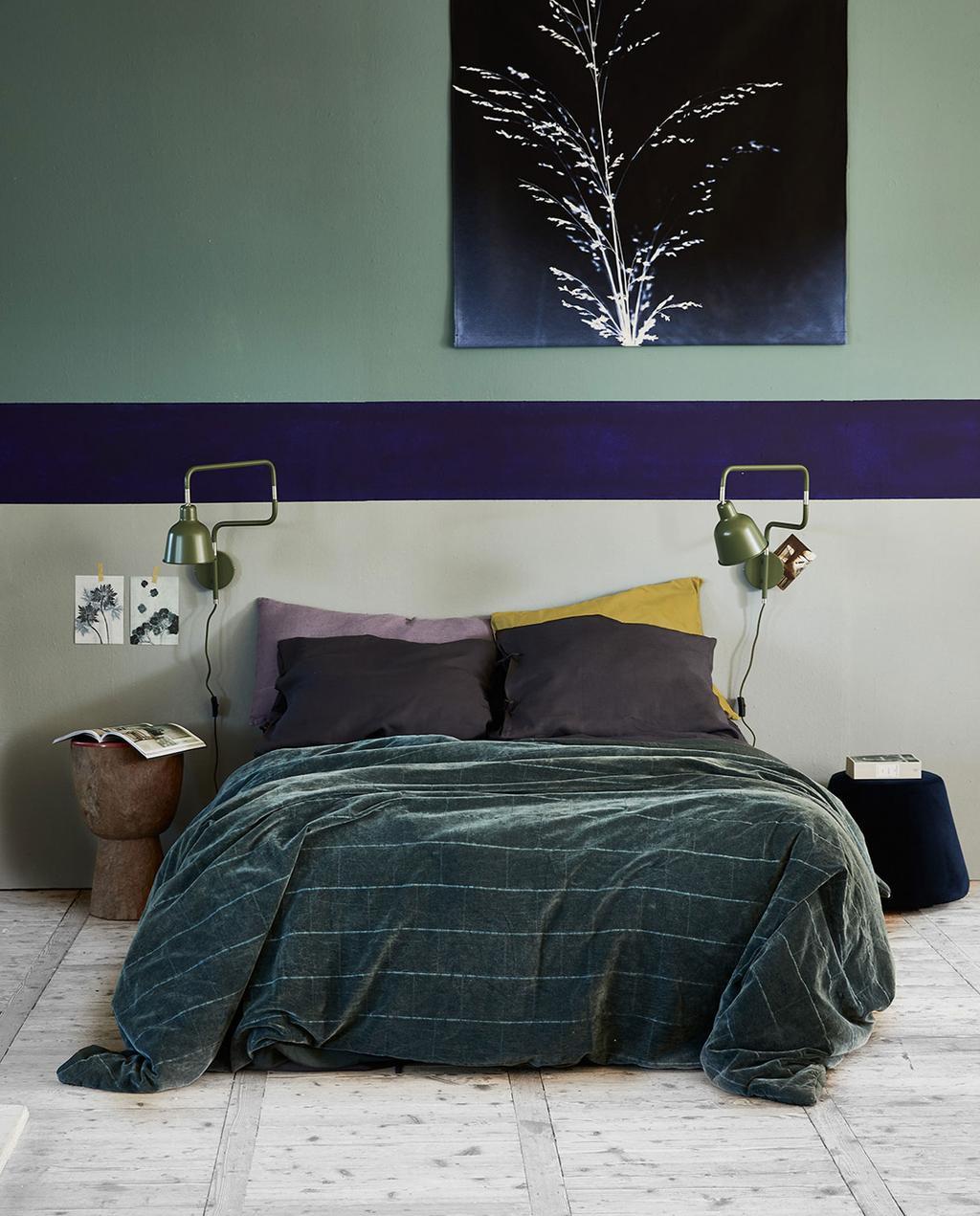 voorjaarshuis fietje kleurrijk slaapkamer blauw en wit