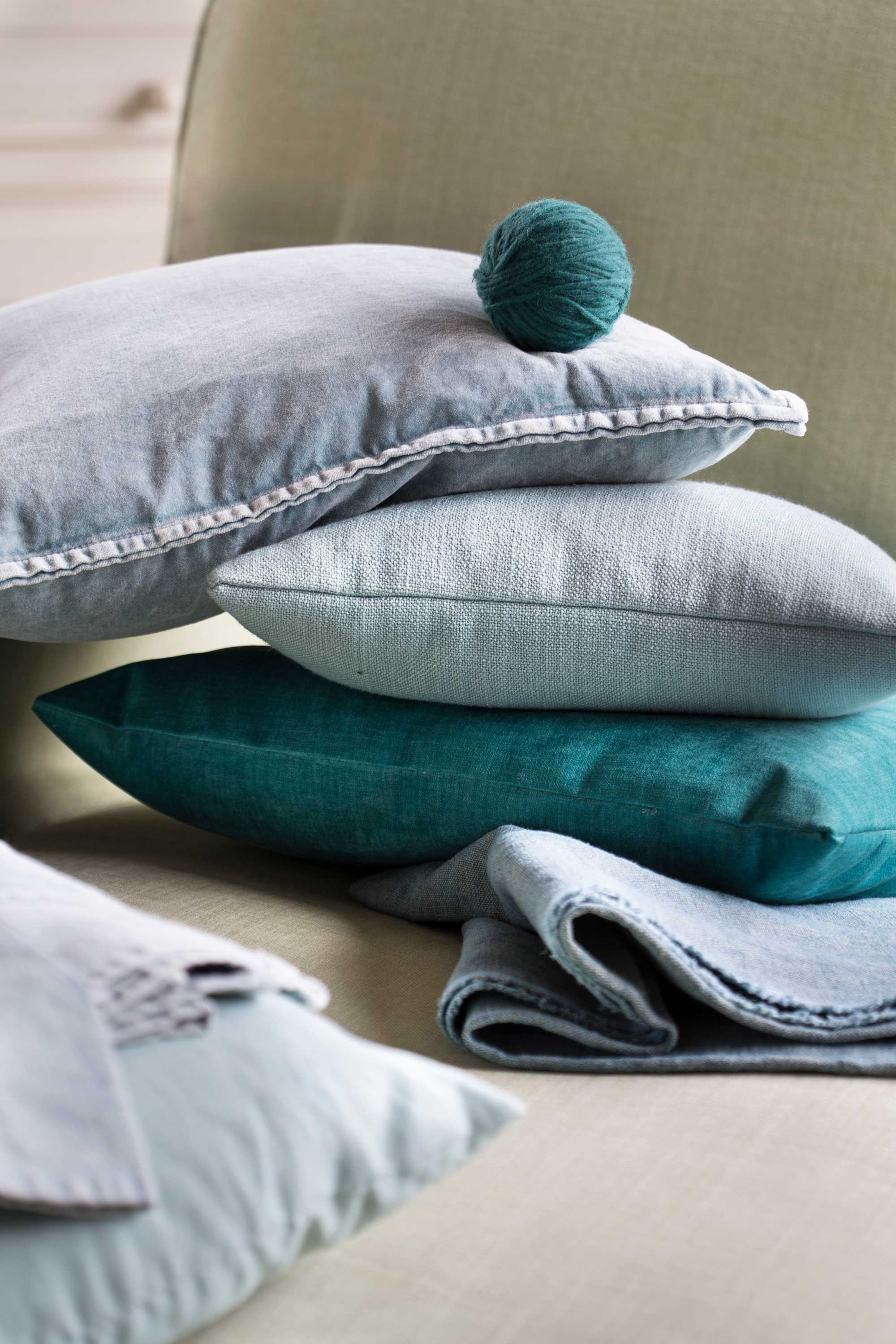 coussin turquoise