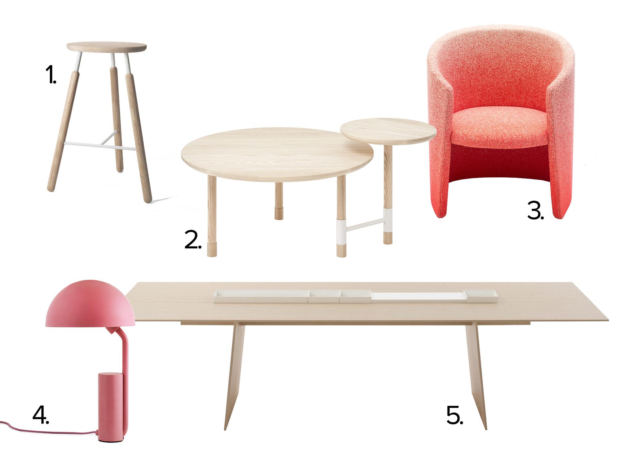 nudes stoel tafel lamp hout roze