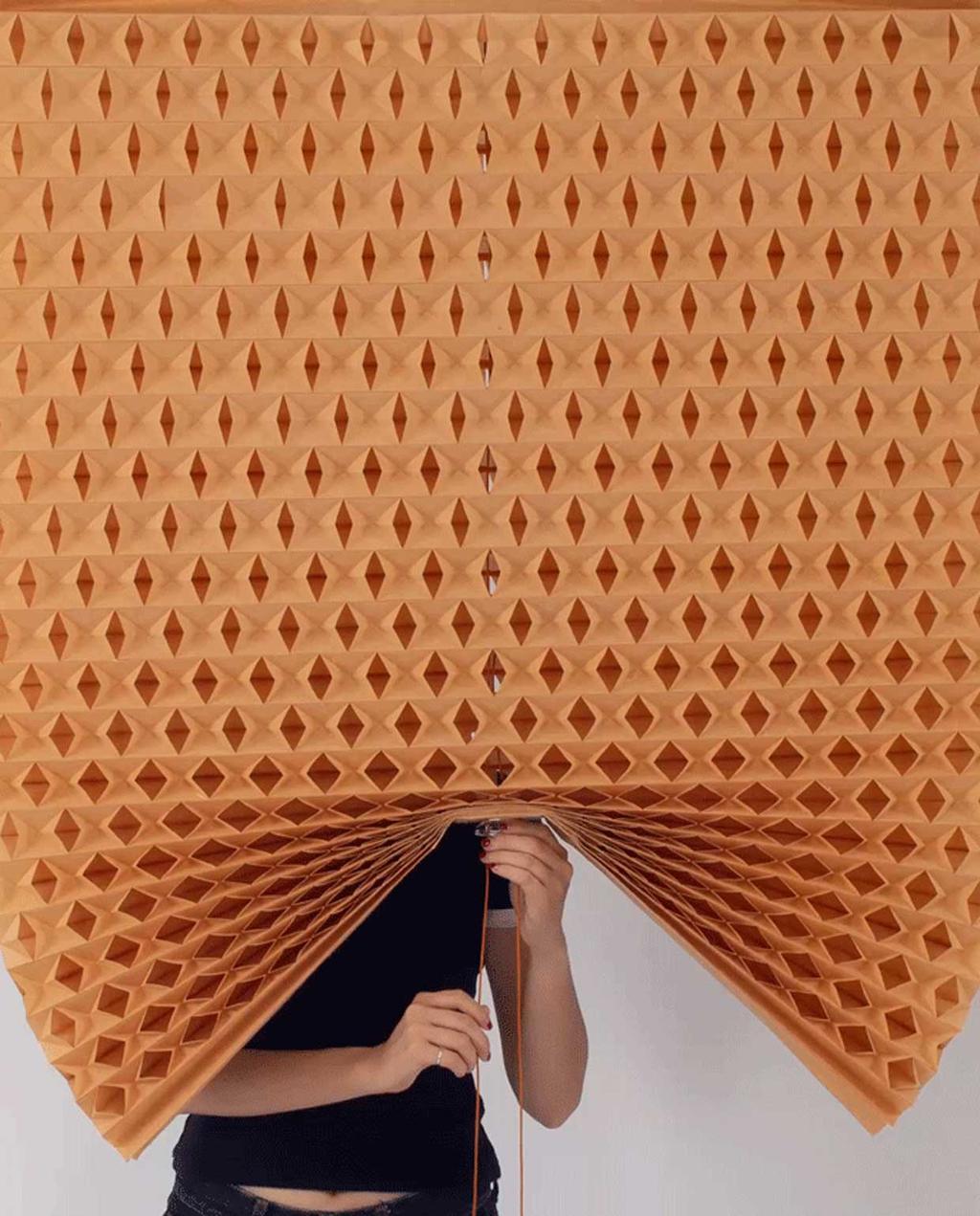 vtwonen blog studentdesign | vouwbaar oranje gordijn van papier