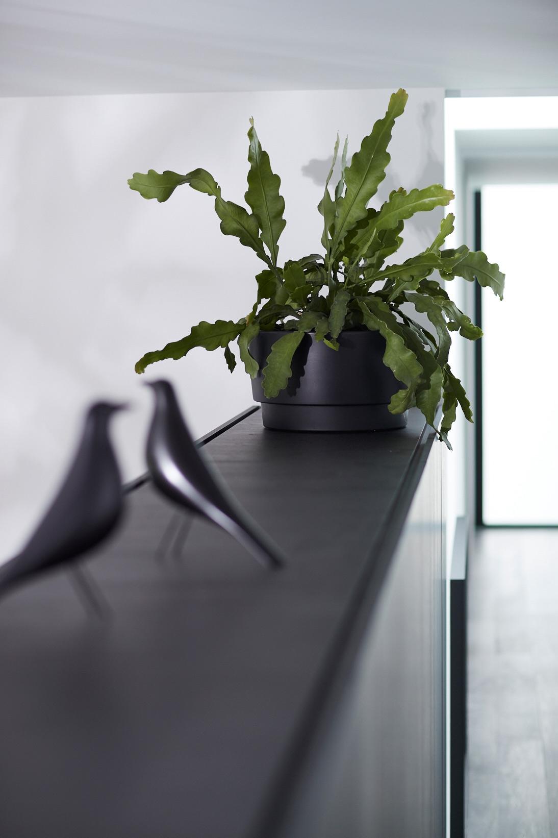 Elho zwarte plantenbak en vitra vogel