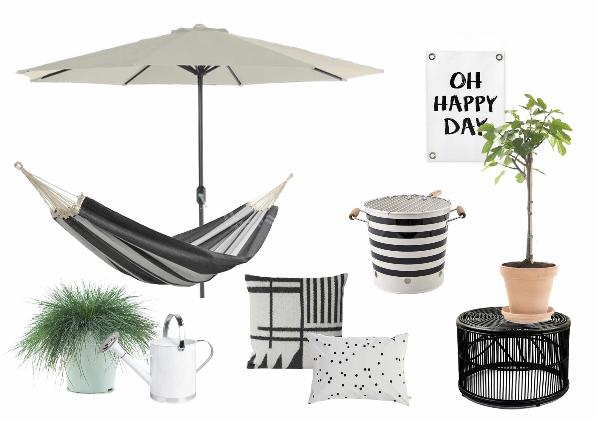 stylisme noire blanc jardin