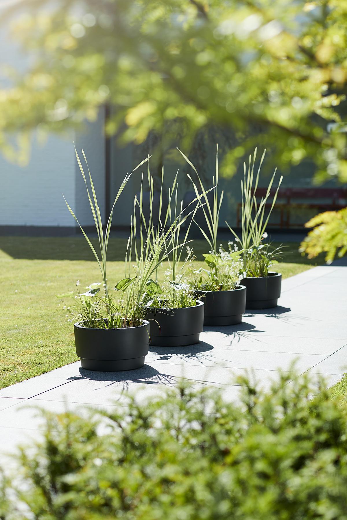 Elho zwarte plantenbakken buiten