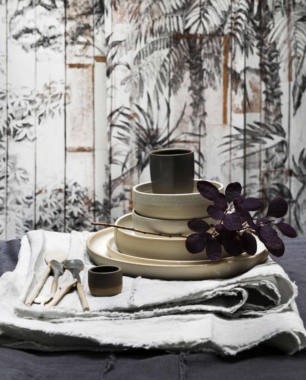 Servies - jungle behang - oase van rust