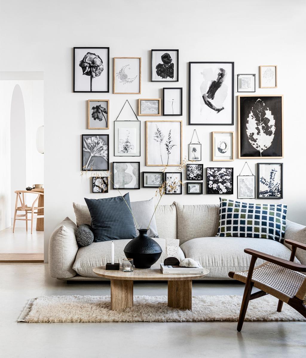 Art wall | woonkamer | vtwonen huiscollectie | vtwonen 02-2021
