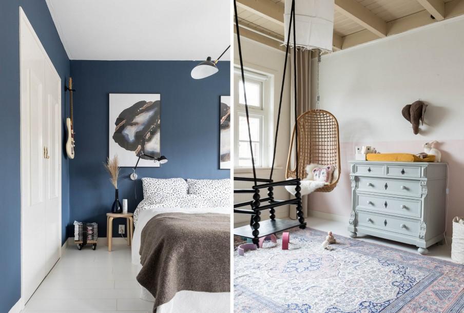 Chambre parents avec un mur bleu et chambre enfant