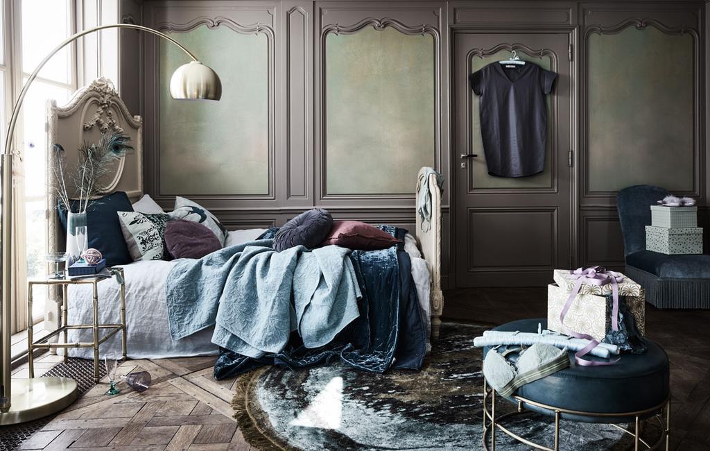 vtdéco - inspiration 2020 - chambre à coucher linge vert bleu