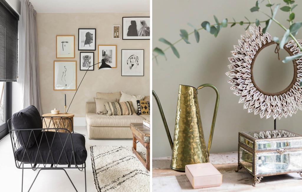 Beige woonkamer met bohemian details