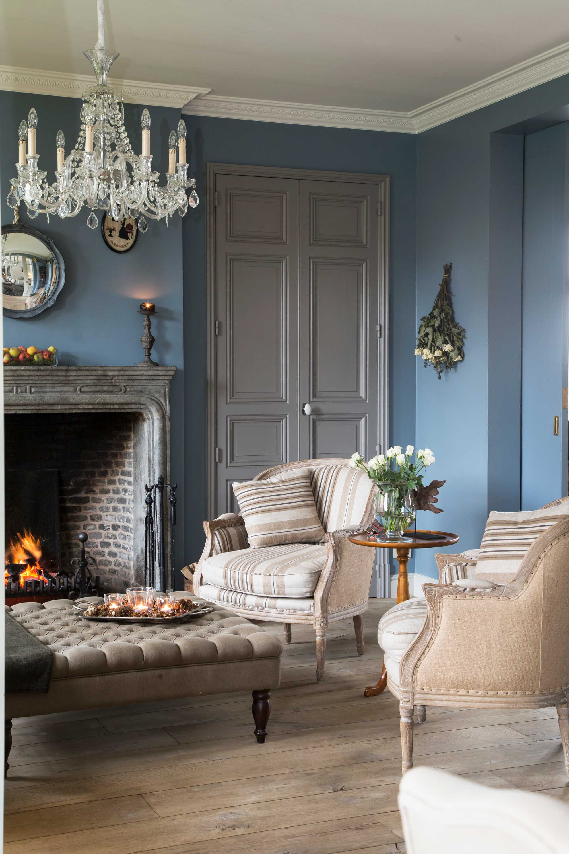 woonkamers blauw kroonluchter
