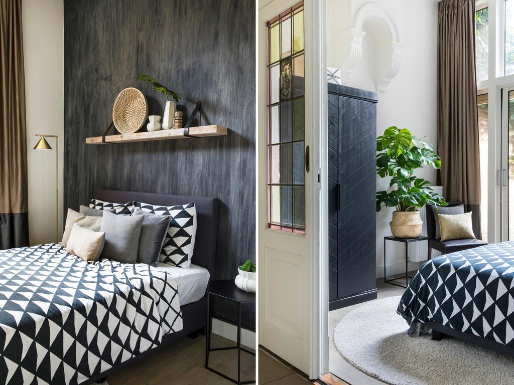 bk zwarte slaapkamer met wit en gatenplant