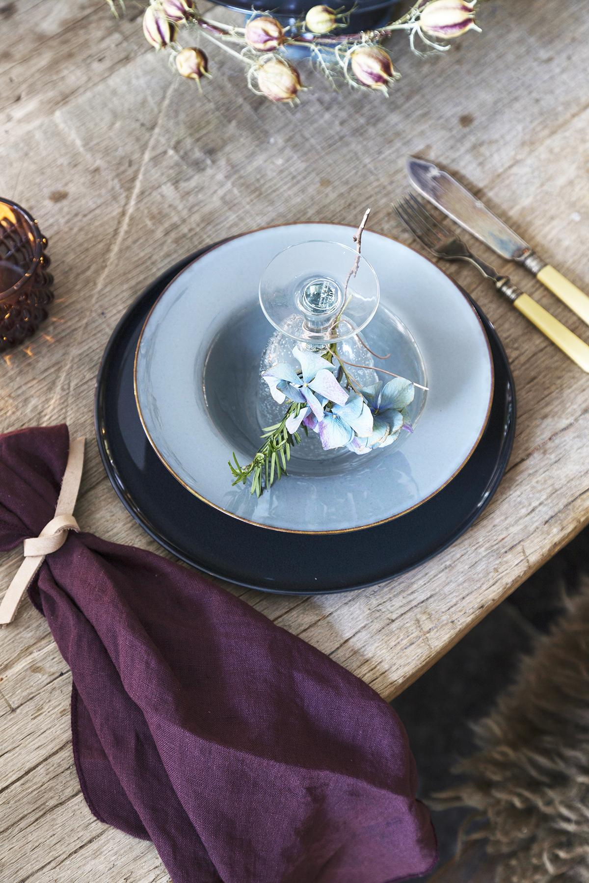 kerst bordschikking blauw paars