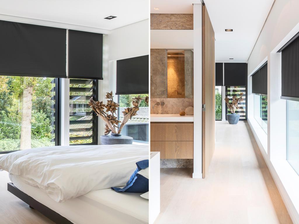 5 chambre a coucher avec fenetres noirs et bois et nature