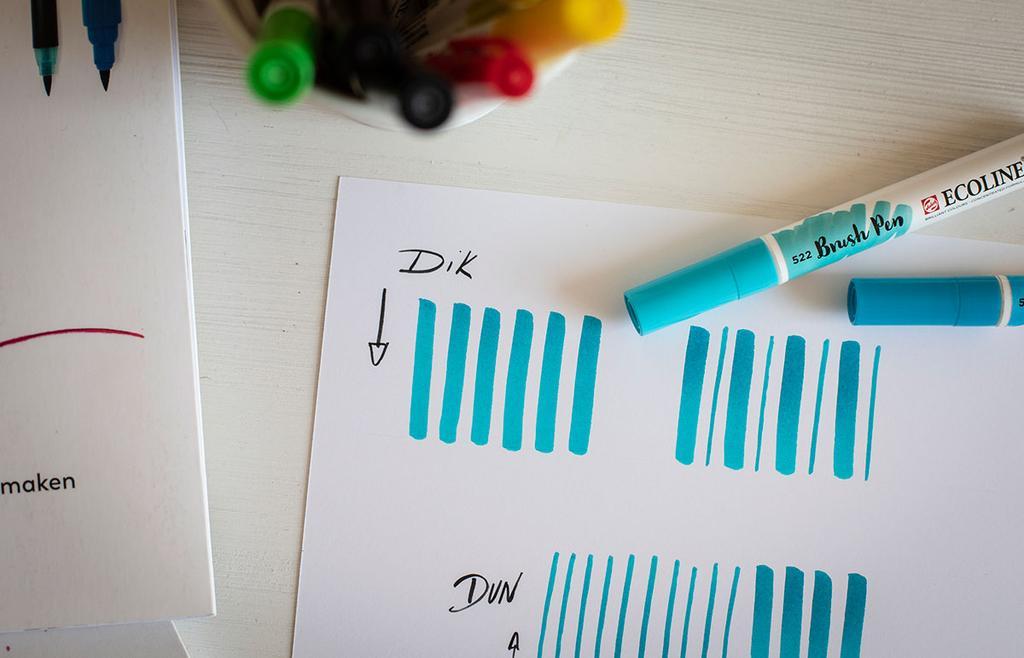 brushpennen dikke en dunne lijnen