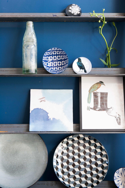 wandplankjes blauw vogels