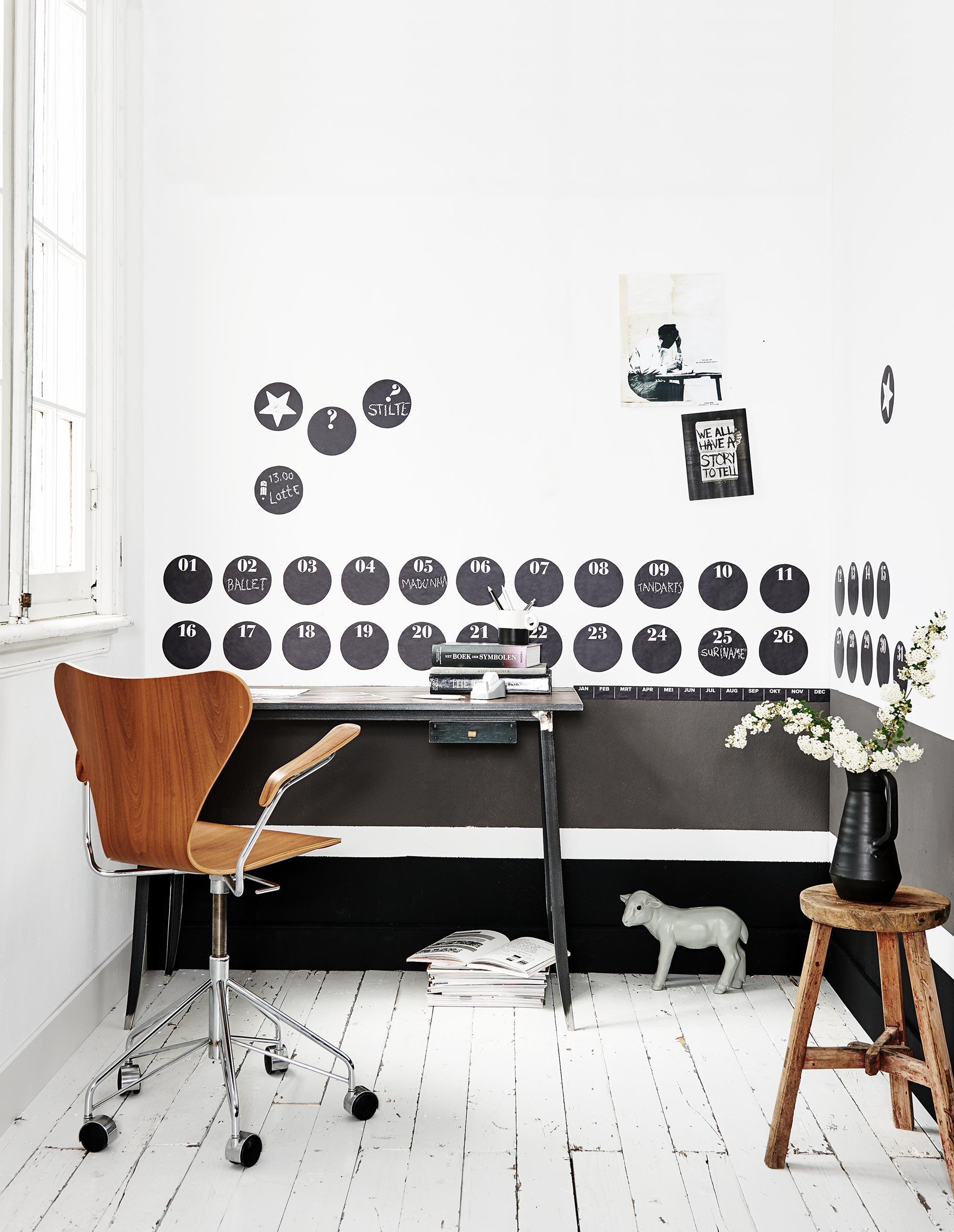 werkkamer zwart-wit muurstickers