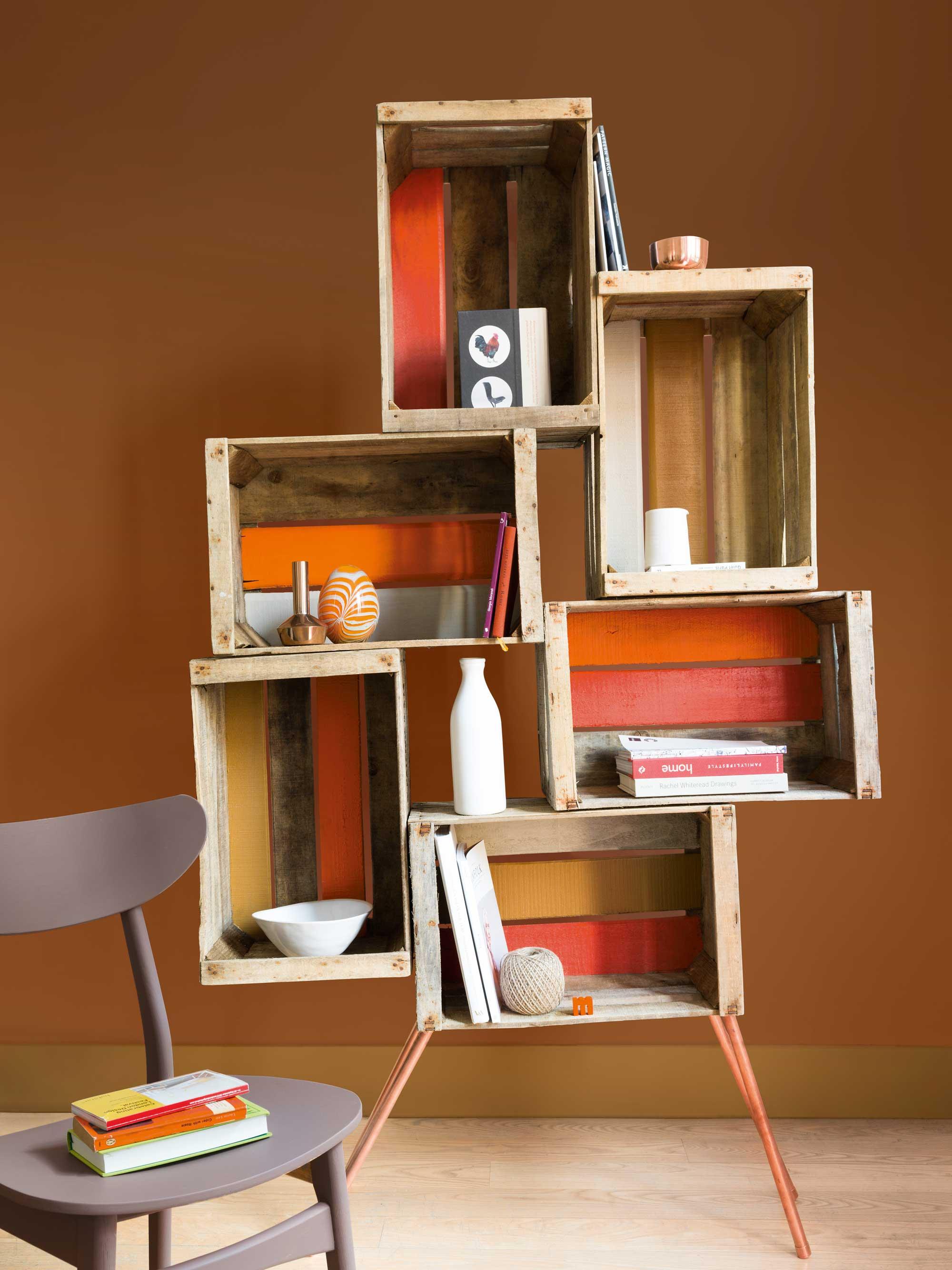 chaise caisses orange