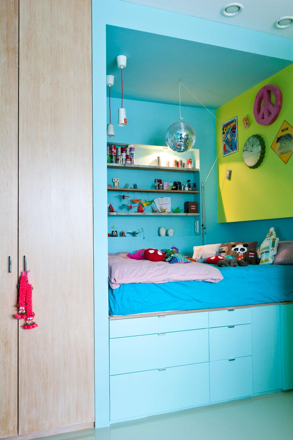 blauw bed