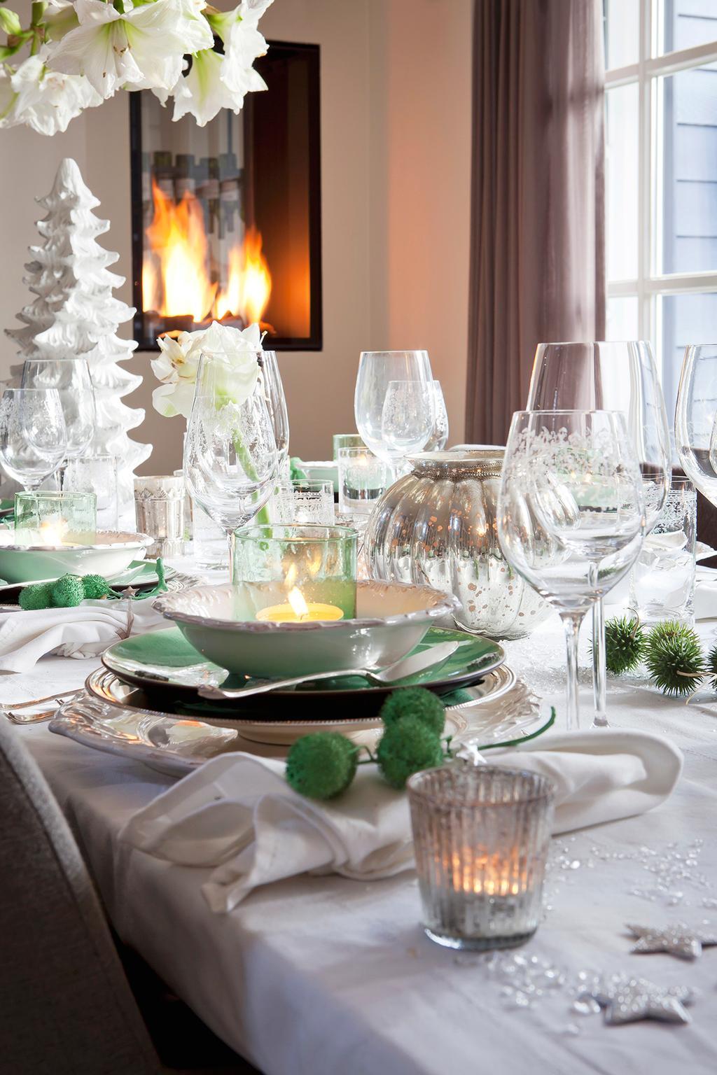 kerst bordschikking groen wit