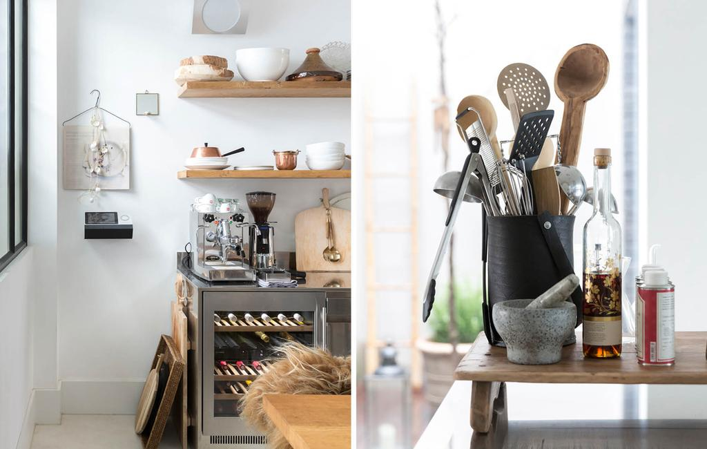 keuken en keukengerei van hout, metaal en steen