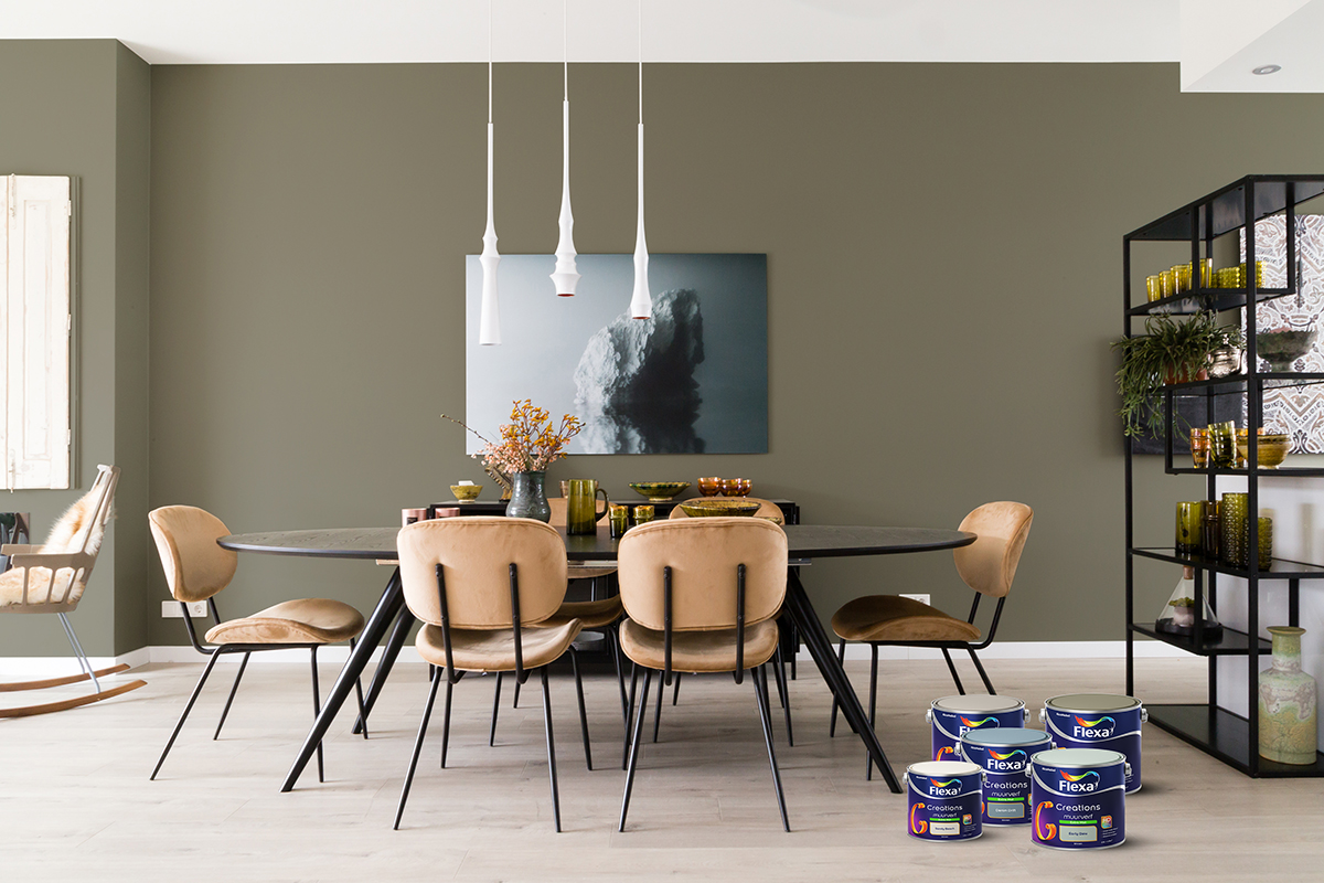 Flexa muur eettafel ovaal met stoelen