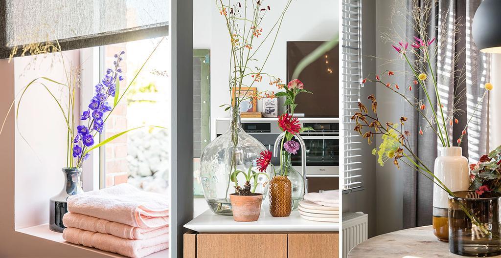 Vazen met takken en bloemen van Van Uytsel uit het tweede seizoen van 'Een frisse start met vtwonen'.