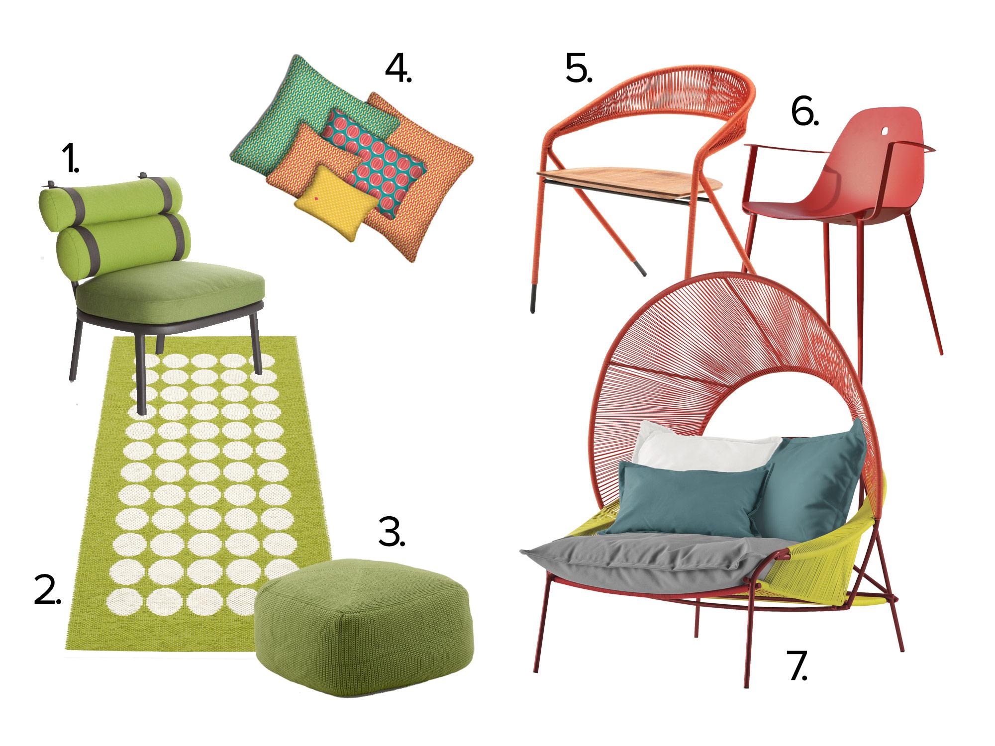 tuin meubels rood groen