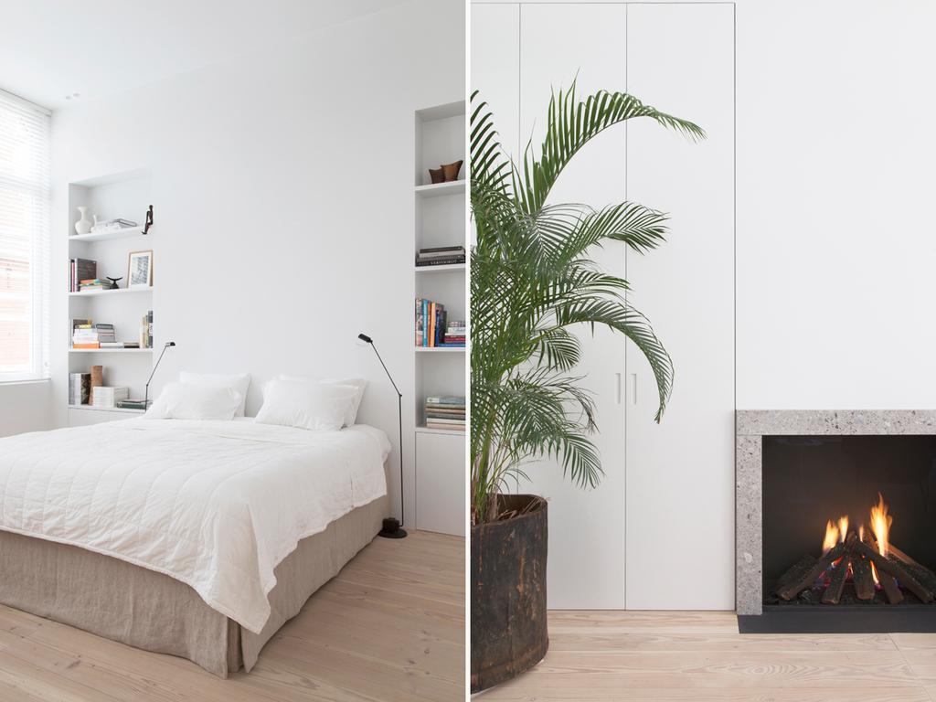 bk witte slaapkamer met palm plant