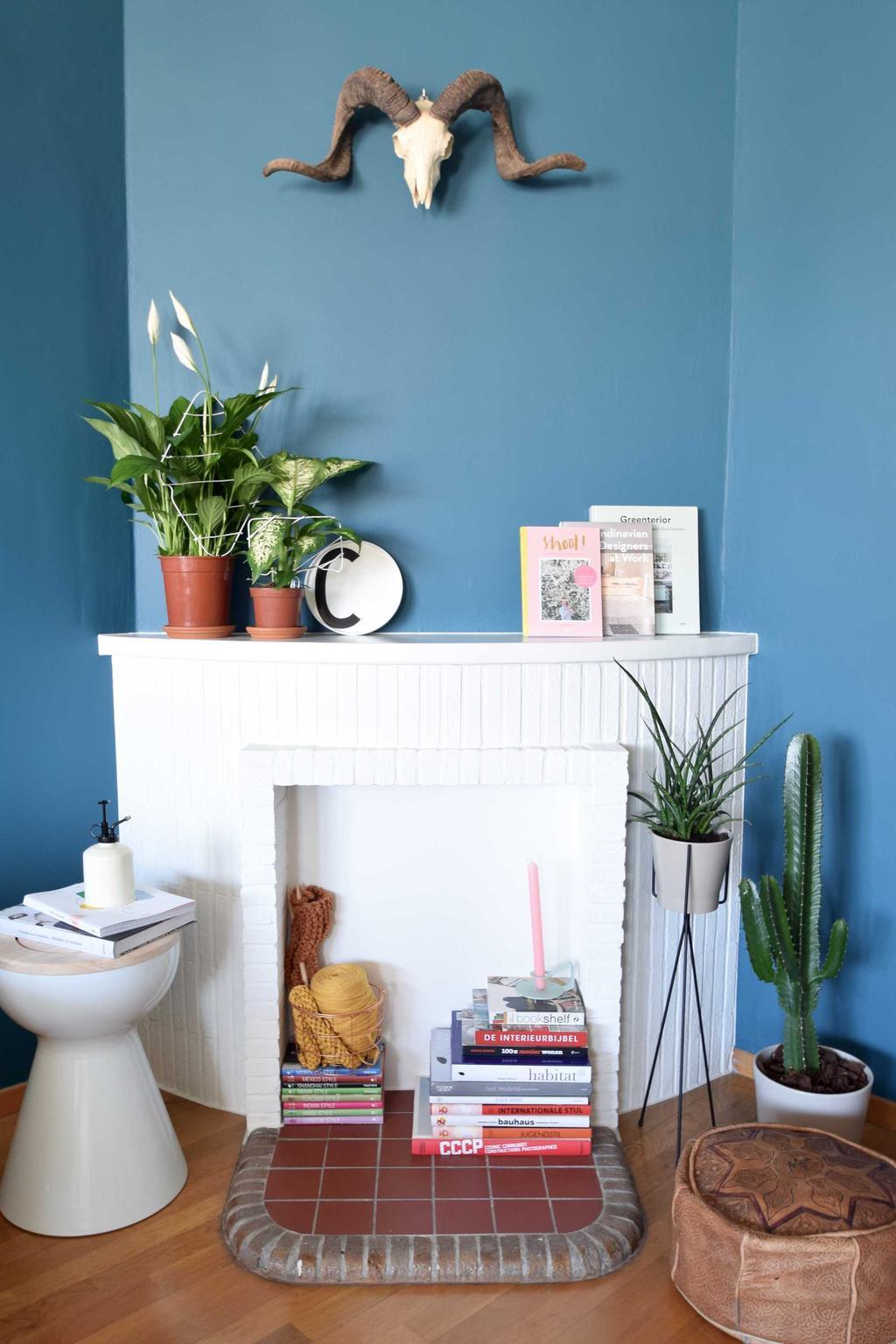 schouw plantenhouder blauw