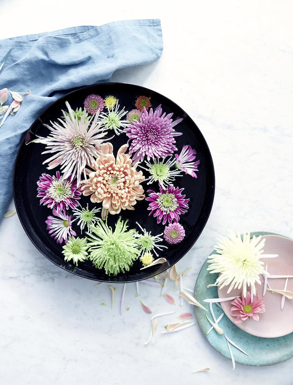 Chrysanten als drijfbloemen