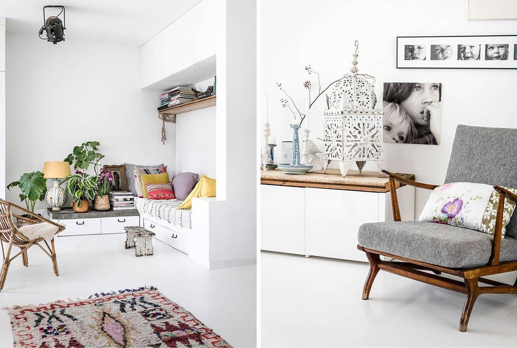 Daybed met gekleurde kussens en een grijze stoel