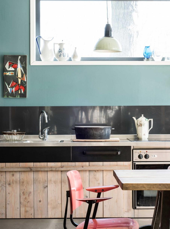 cuisine bleu noire bois