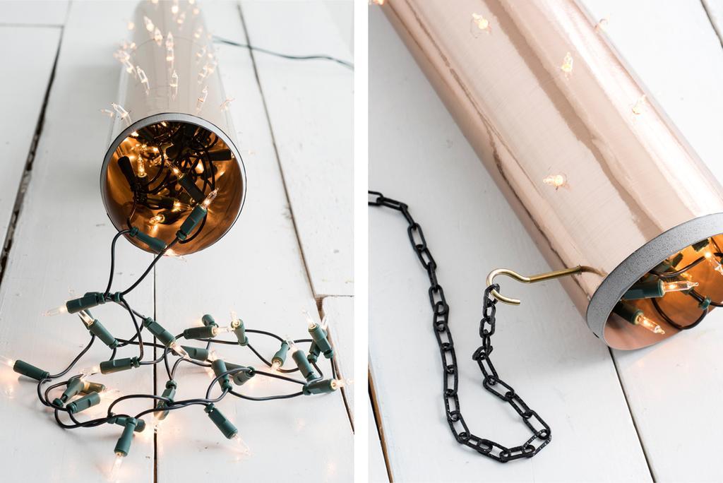 Zo gemaakt. DIY kerstverlichting met rose goud papier.