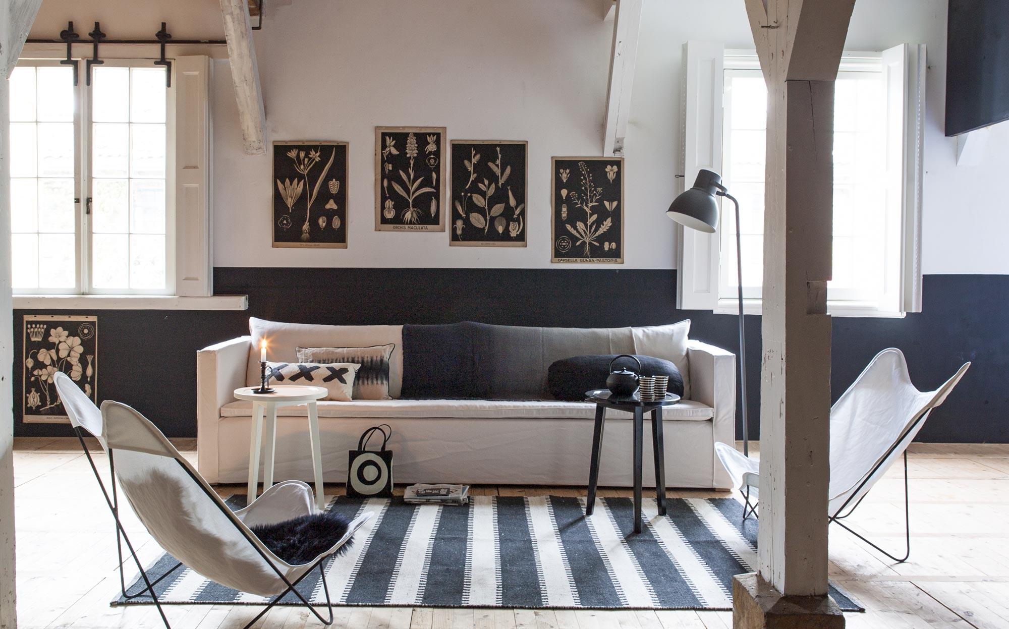 zwart-wit woonkamer