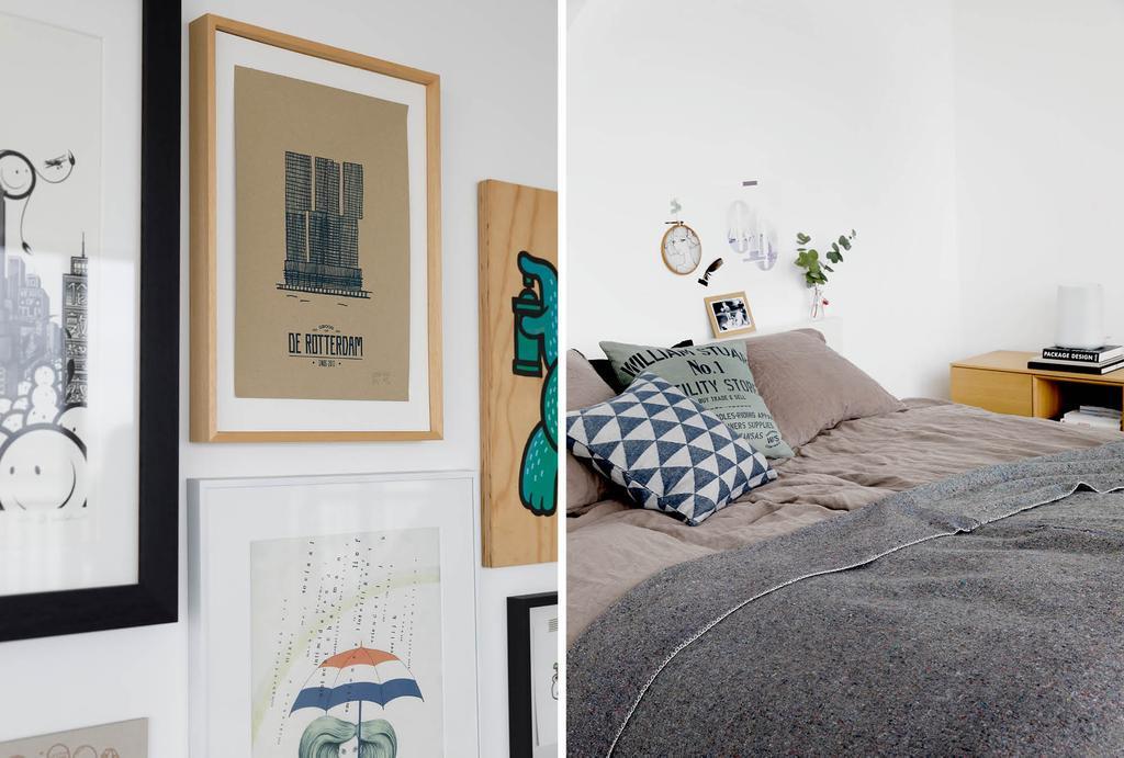 Schilderijenwand in de slaapkamer