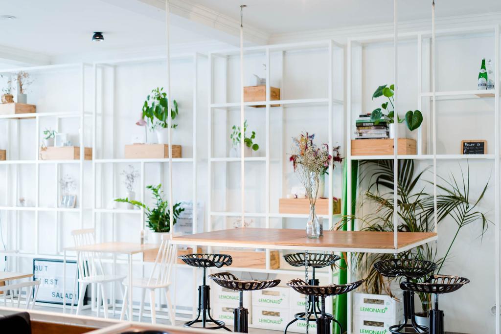 Interieur van saladebar Romain Roquette in Gent