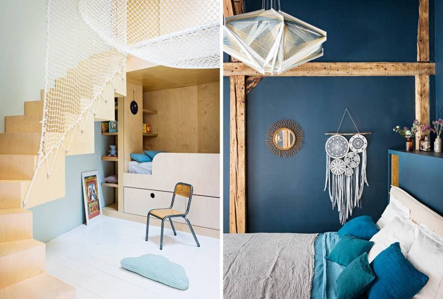 Chambre enfant avec escalier et chambre parents bleue avec poutres