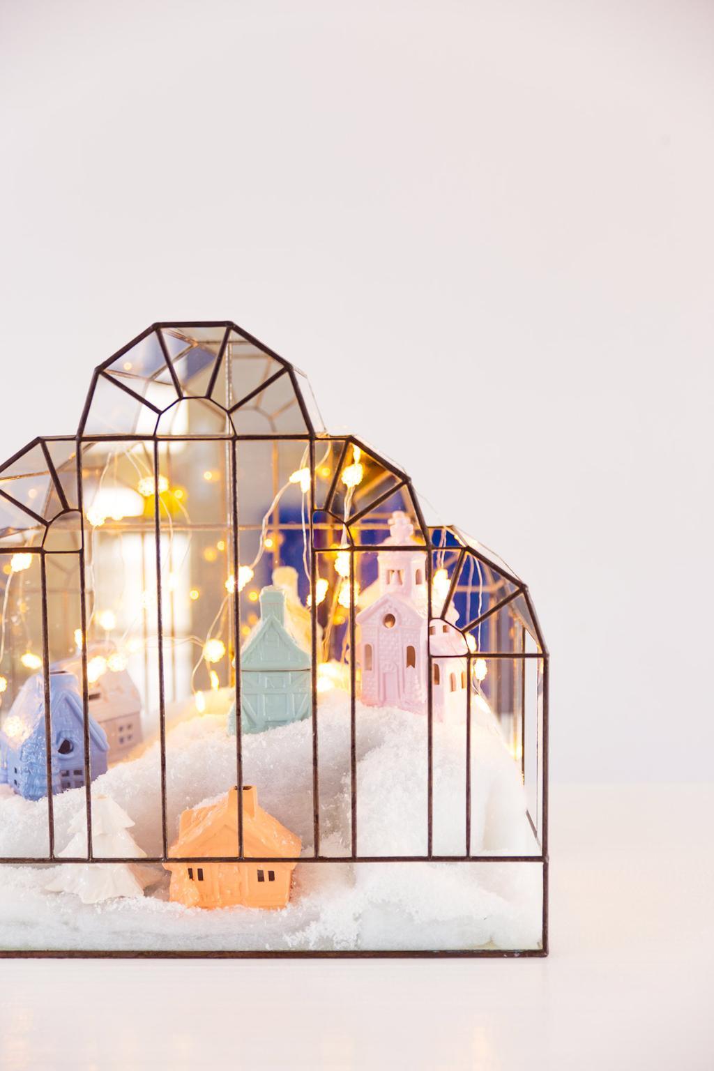 Kersthuisjes van aardewerk gemaakt door blogger Oh Marie!