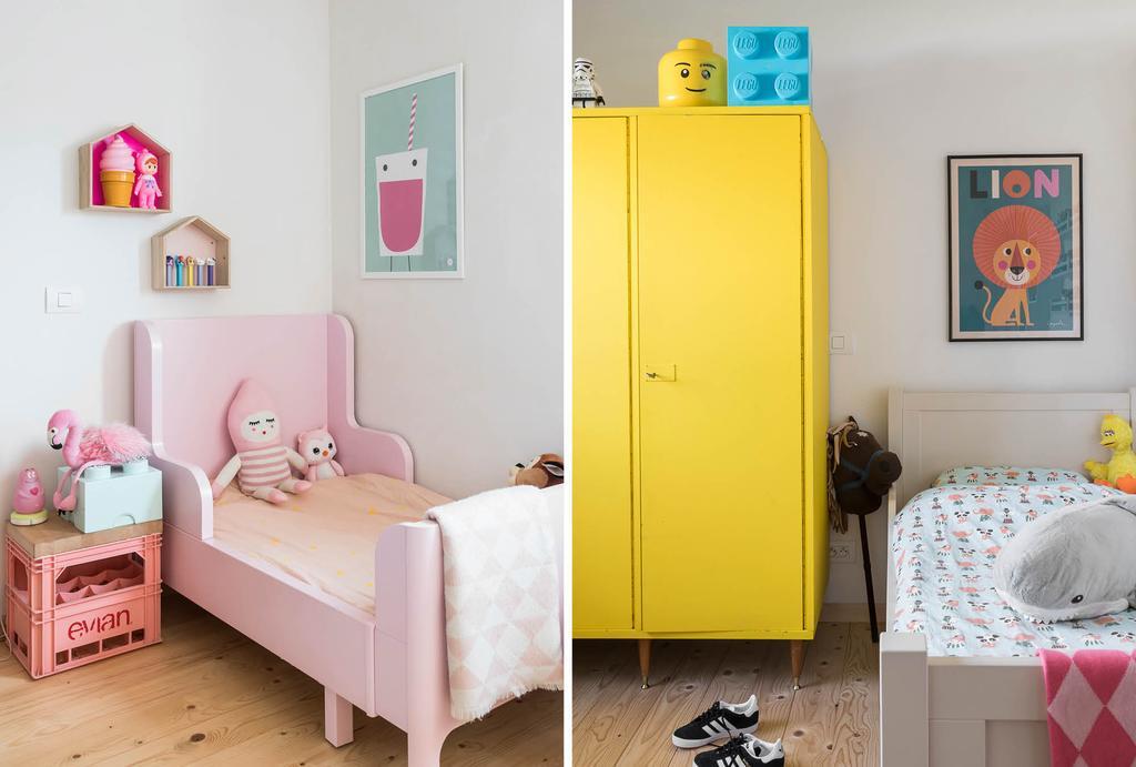 Kinderkamer met roze en gele accenten