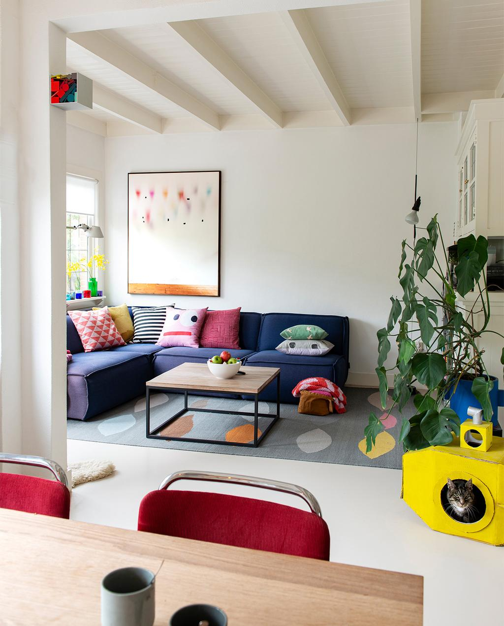 vtwonen 07-2021 | woonkamer met primaire kleuren, met een kleurrijk vloerkleed met een gele kattenmand en opvallende kussens