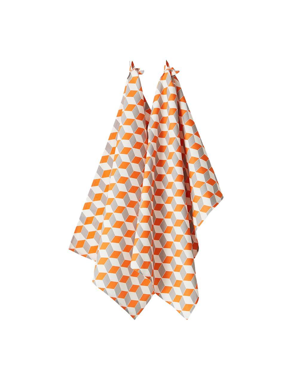 Theedoek met oranje geometrisch patroon van Jotex