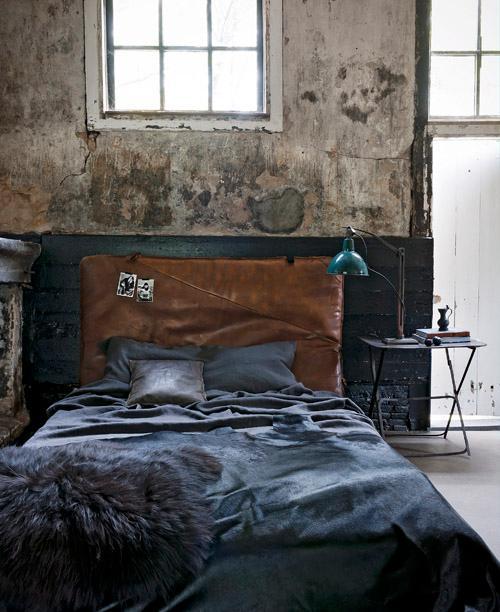 industrieel interieur slaapkamer blauw
