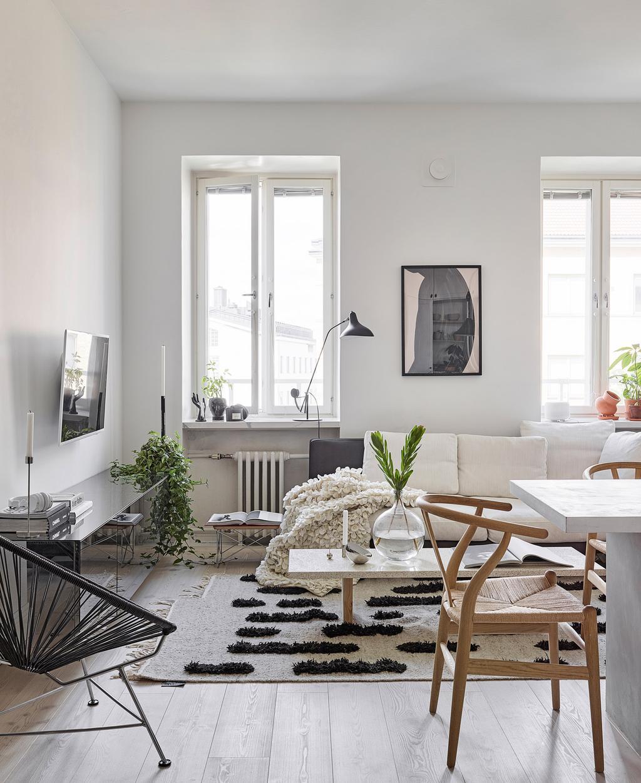 vtwonen special tiny houses | woonkamer met rotan stoel en vloerkleed