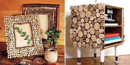 Fotolijstje en kastje van houtresten