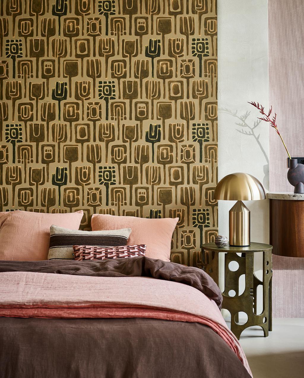 gouden muur in slaapkamer