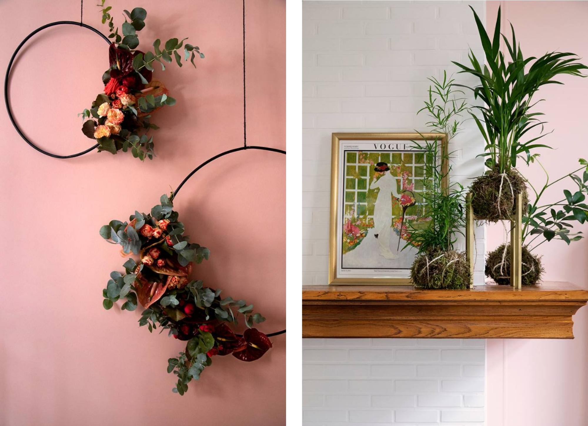 bloemen decoraties Flower Bomb roze flower hoop schap met kader en planten