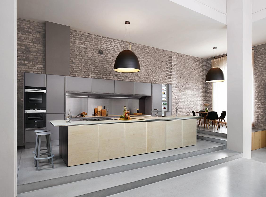 industriële keuken zwart hout beton