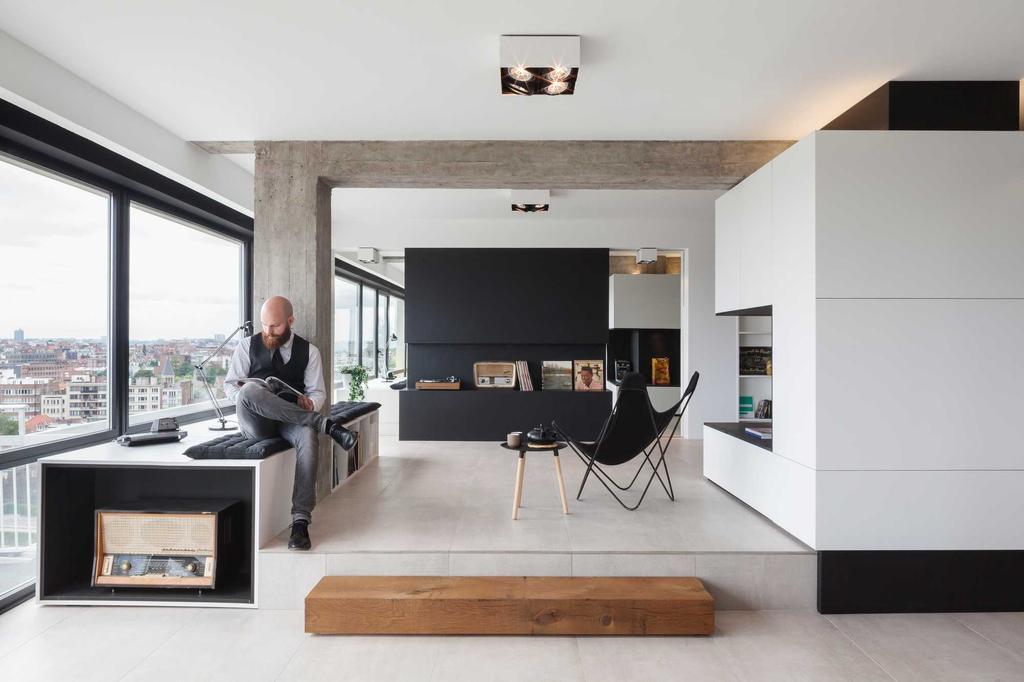 beton hout wit zwart