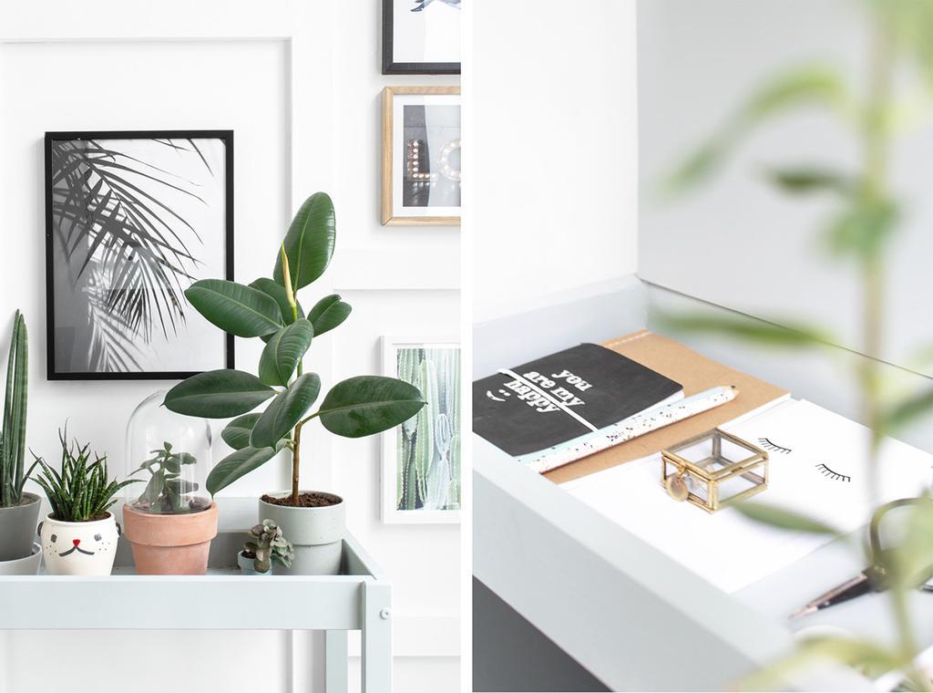IKEA SNIGLAR commode met planten en lijsten aan de muur