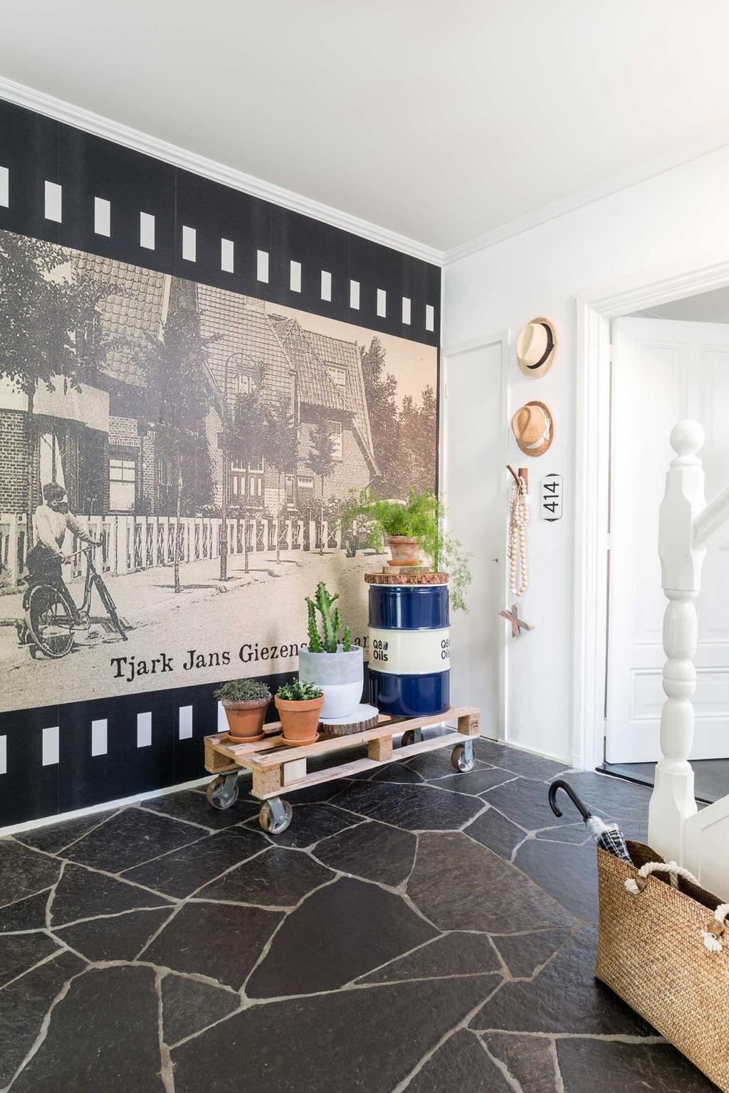 hall chariot plantes et photo murale noir et blanc