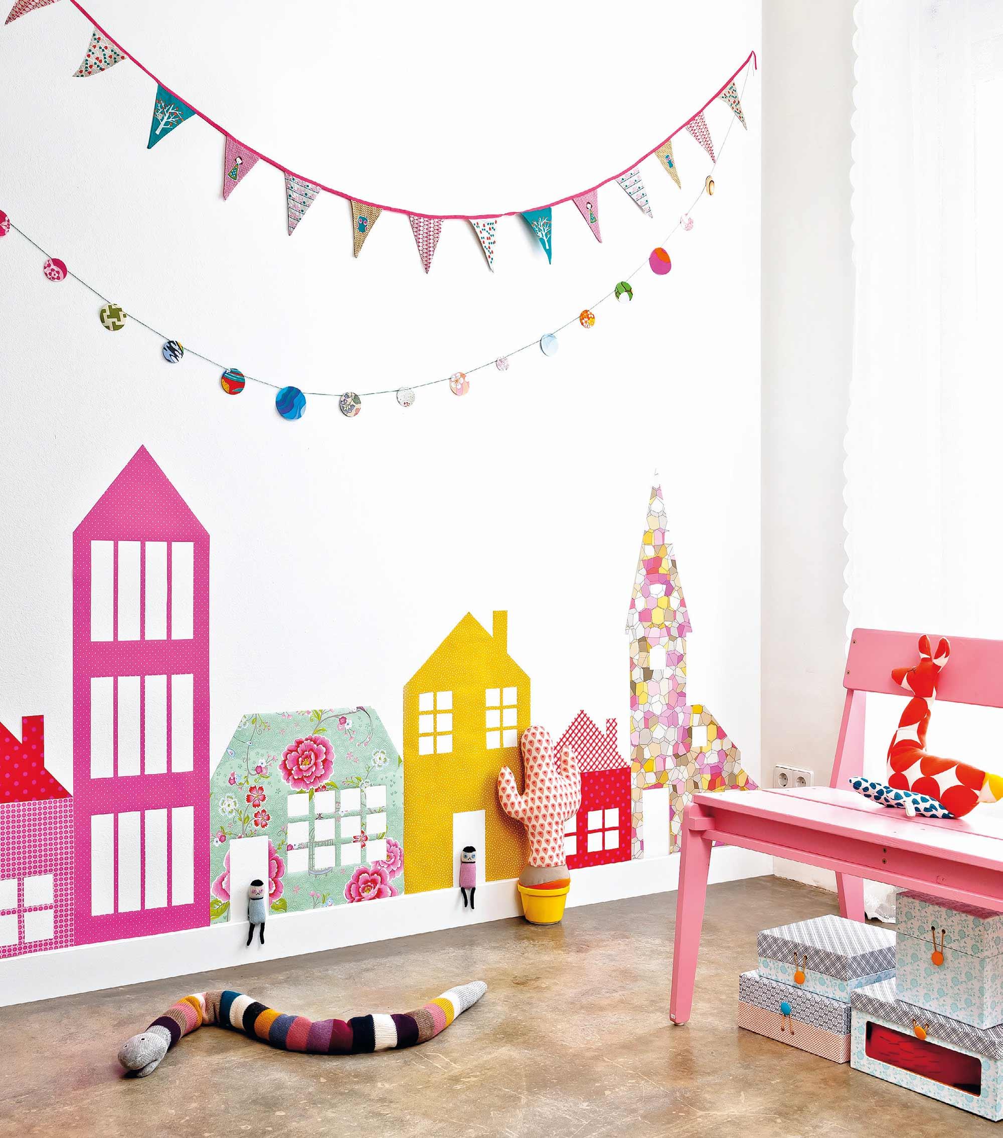 behang huisjes kinderkamer
